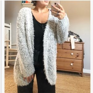 Kensie oversized grey teddy bear open cardigan